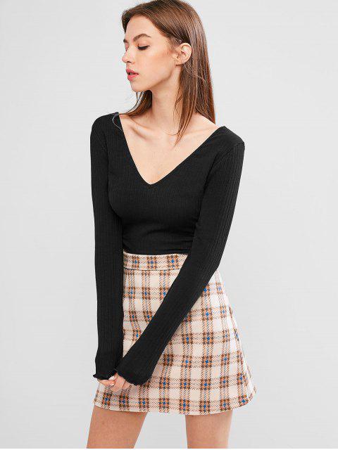 outfit Back V Ribbed Crop Top - BLACK L Mobile