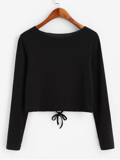 lady Drawstring Button Front Long Sleeve Tee - BLACK S Mobile