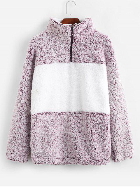 fashion Quarter Zip Contrast Pocket Fluffy Teddy Sweatshirt - MULTI S Mobile