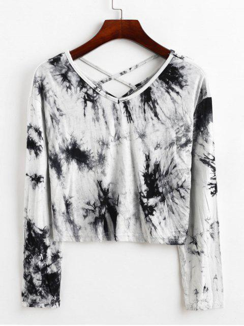 affordable Tie Dye Criss Cross Cropped Tee - MULTI M Mobile