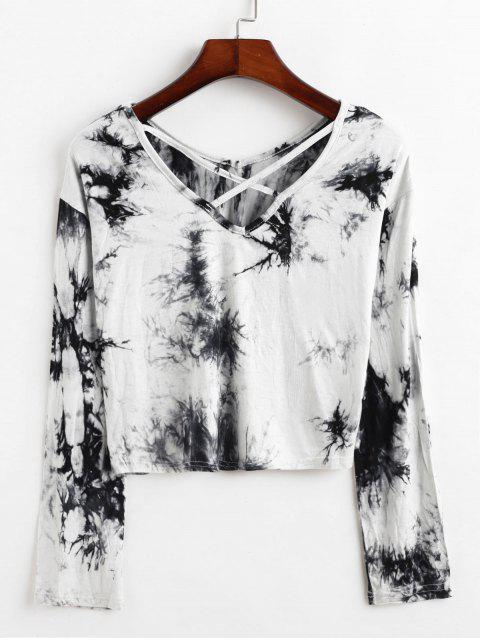 womens Tie Dye Criss Cross Cropped Tee - MULTI XL Mobile
