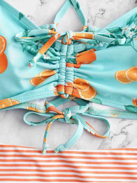 ZAFUL Cinched Naranja impresión rayada volante de Tankini del traje de baño - Multicolor-A M Mobile