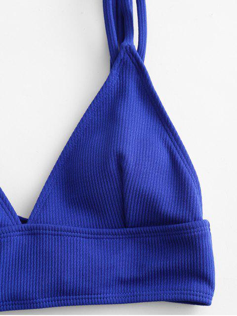 ZAFUL acanalado con tiras de Control de Abdomen baño tankini - Azul Cobalto L Mobile