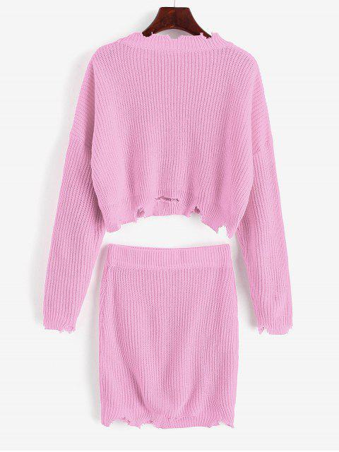 latest Ripped Cropped Sweater Two Pieces Skirt - PINK L Mobile
