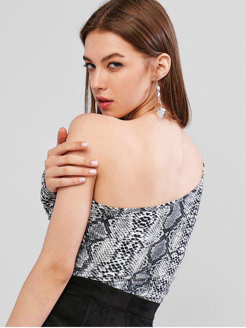 fashion One Shoulder Snakeskin Print Crop Tee - MULTI XL Mobile