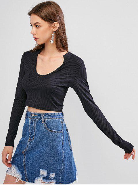 outfit Scoop Neck Long Sleeves Basic Crop Top - BLACK M Mobile