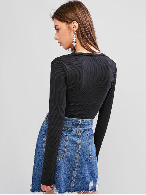 hot Scoop Neck Long Sleeves Basic Crop Top - BLACK L Mobile