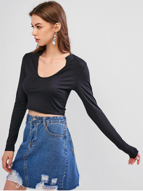 unique Scoop Neck Long Sleeves Basic Crop Top - BLACK XL Mobile