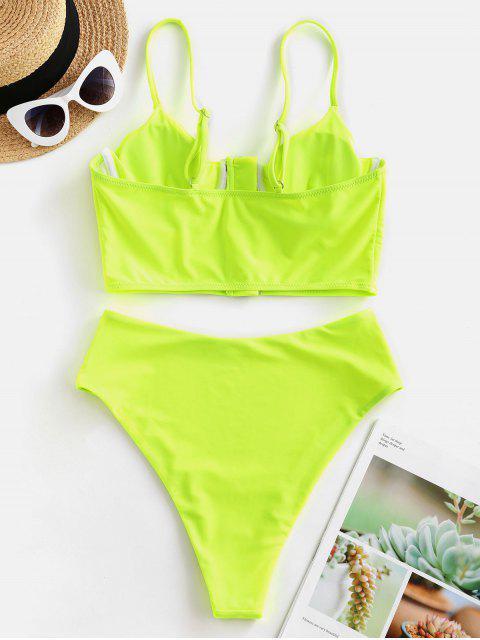 ZAFUL neón Cierre central con aros High Cut Tankini del traje de baño - Verde Amarillo S Mobile