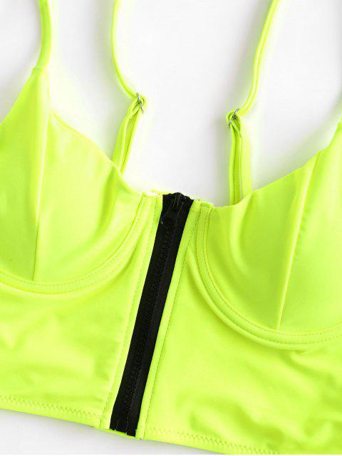 ZAFUL neón Cierre central con aros High Cut Tankini del traje de baño - Verde Amarillo 2XL Mobile