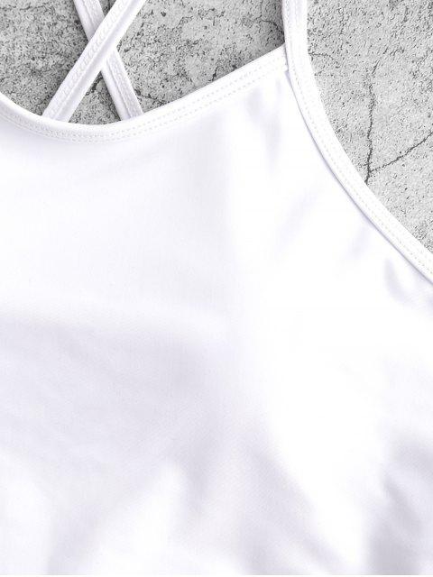 ZAFUL rayada dril de algodón de impresión ata para arriba el traje de baño de Tankini de talle alto - Azul Oscuro de Denim XL Mobile