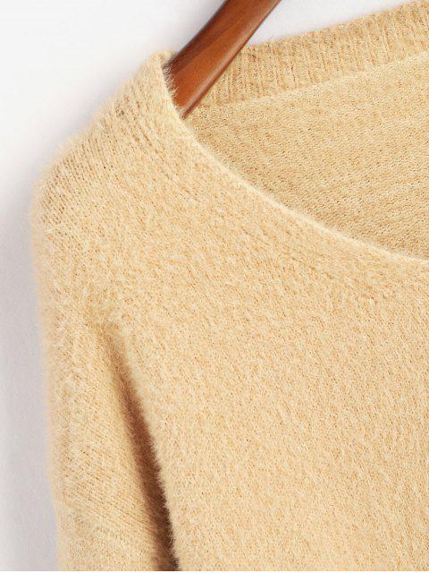 ファジーニットスリットドロップショルダーボーイフレンドのセーター - ライトカーキ ワンサイズ Mobile