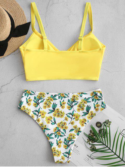 ladies ZAFUL Floral Surplice High Cut Tankini Swimsuit - YELLOW M Mobile