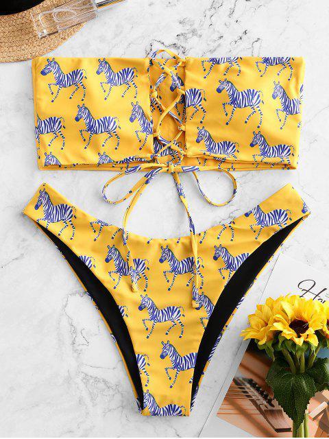best ZAFUL Zebra Print Lace Up Bandeau Bikini Swimsuit - BRIGHT YELLOW M Mobile