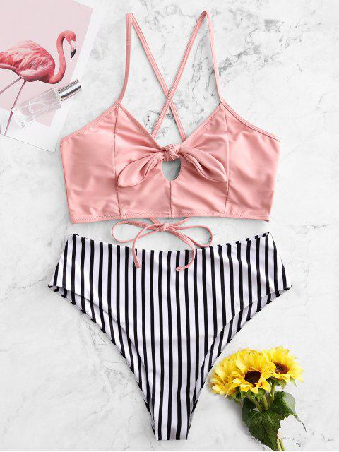 shop ZAFUL Striped Lace Up Tied Keyhole Tankini Swimsuit - FLAMINGO PINK L Mobile