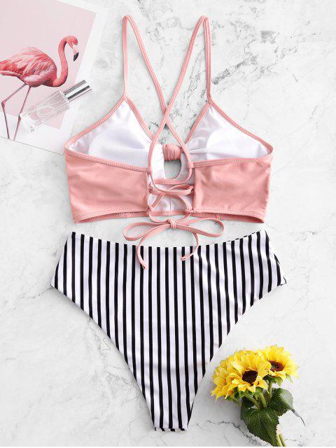 ZAFUL Gestreifter Gebundener Tankini Badebekleidung mit Schnürung - Flamingo Rosa S Mobile