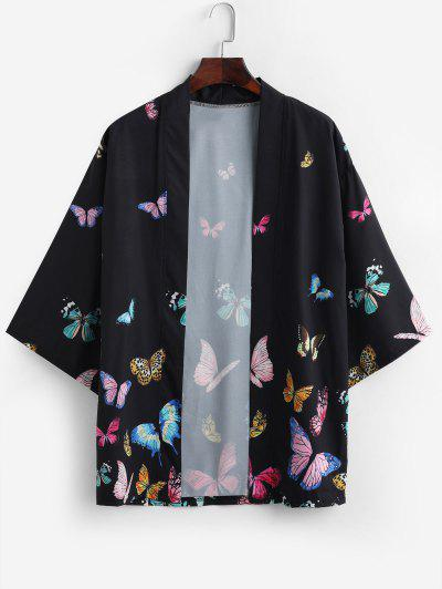 Colored Butterfly Allover Print Kimono Cardigan - Black M