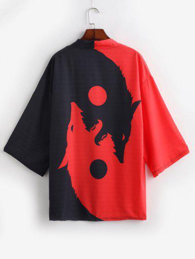 Roaring Moon Wolf Print Open Front Kimono Cardigan - Red S