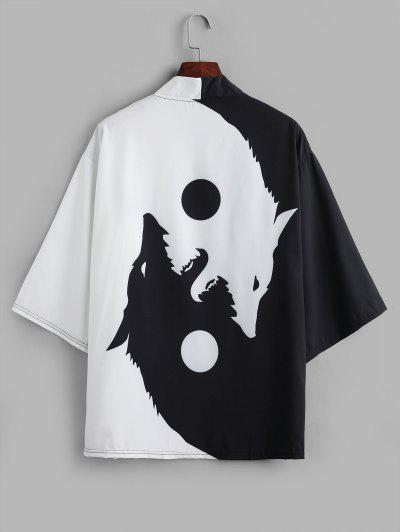 Roaring Moon Wolf Print Open Front Kimono Cardigan - Black M