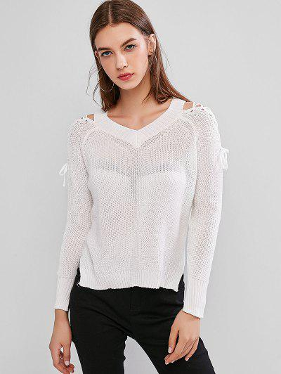 Lace Up Side Slit Raglan Sleeve Sweater - White
