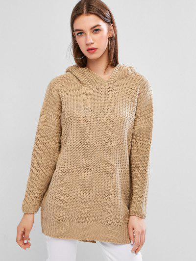 Chunky Knit Hooded Drop Shoulder High Low Sweater - Light Khaki