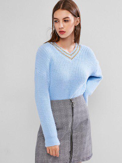 Metallic Thread Twist Sweater - Day Sky Blue