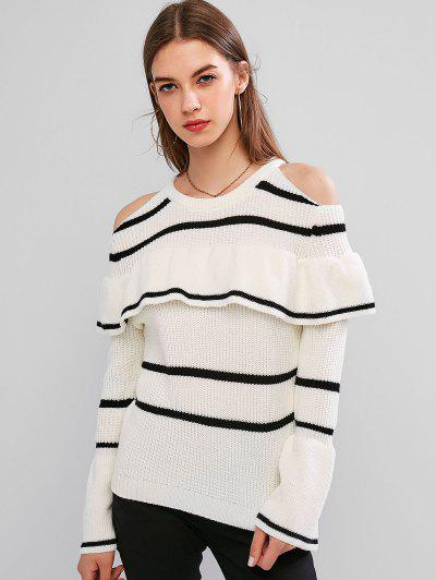 Striped Cold Shoulder Flounce Sweater - White M