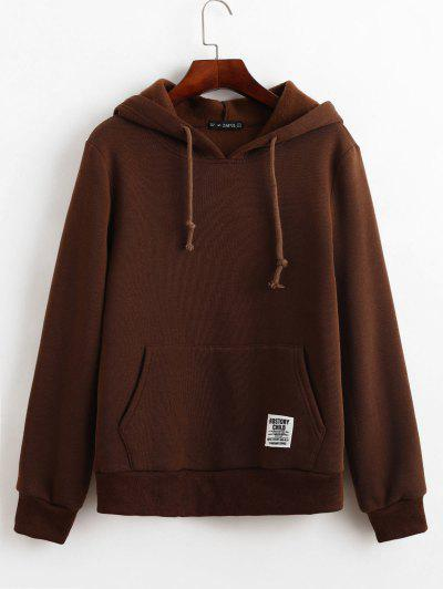 ZAFUL Drawstring Slogan Patched Front Pocket Hoodie