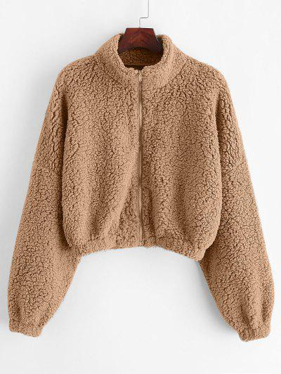 ZAFUL Drop Shoulder Zip Up Teddy Coat - Khaki S