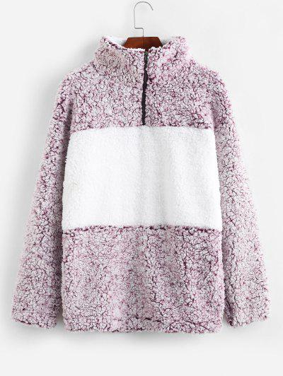 Zaful / Quarter Zip Contrast Pocket Fluffy Teddy Sweatshirt