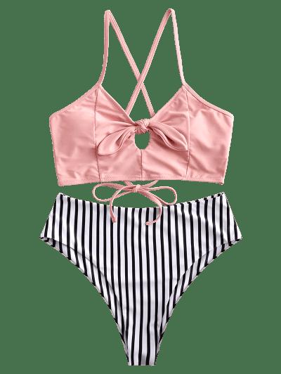 ZAFUL Striped Lace Up Tied Keyhole Tankini Swimsuit