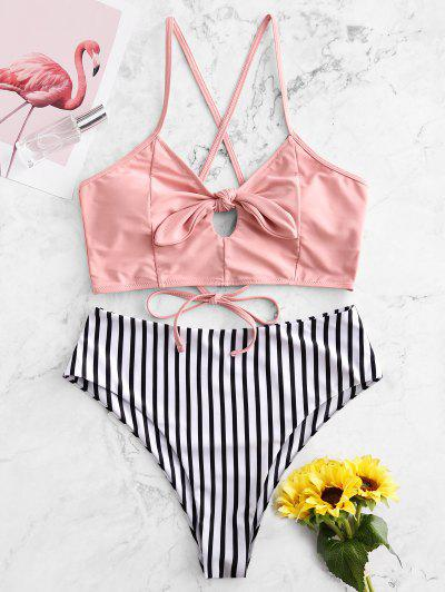ZAFUL Striped Lace Up Tied Keyhole Tankini Swimsuit - Flamingo Pink S