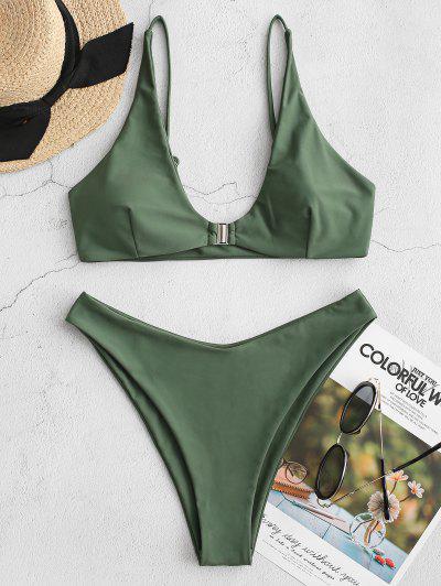 ZAFUL Front Closure High Leg Bikini Swimsuit - Camouflage Green M