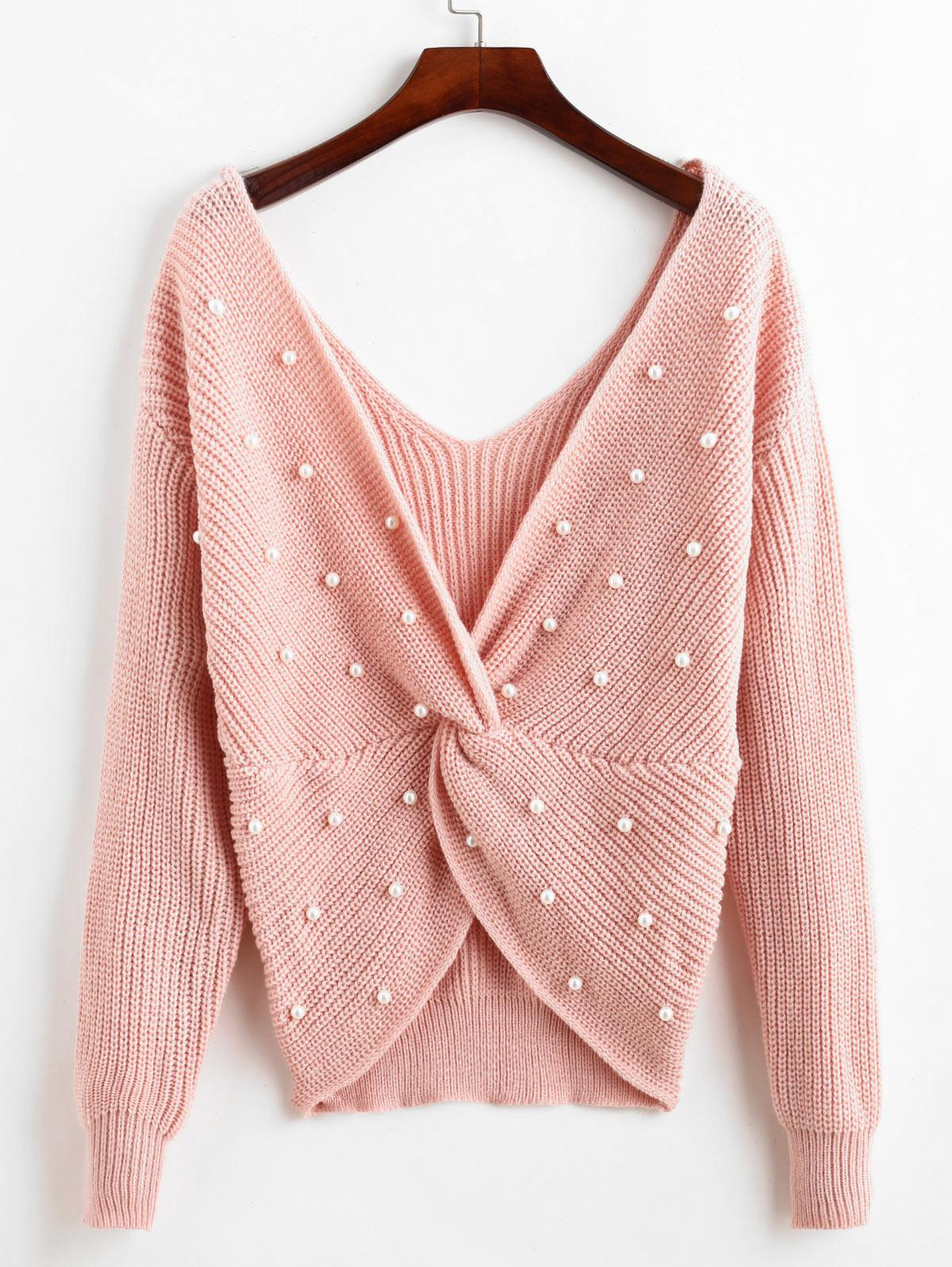 ZAFUL Pullover V Neck Twist Front Faux Pearls Sweater