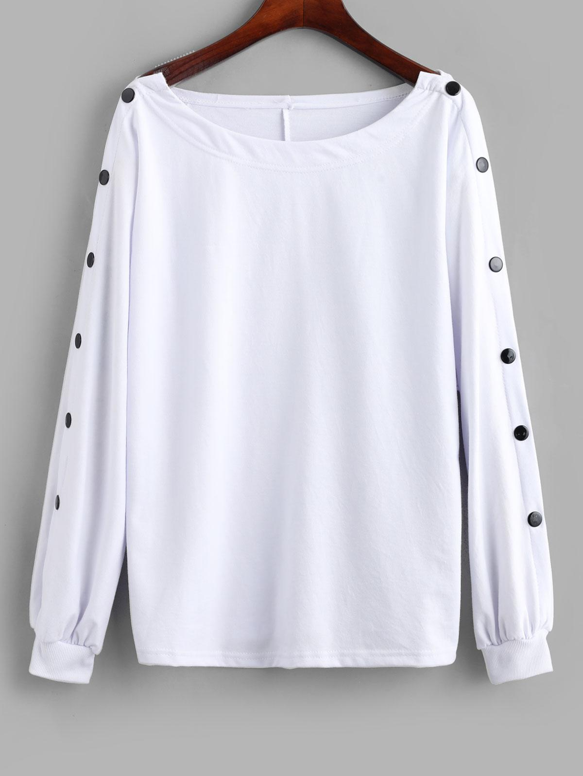 Pullover Loose Buttoned Sleeve Sweatshirt
