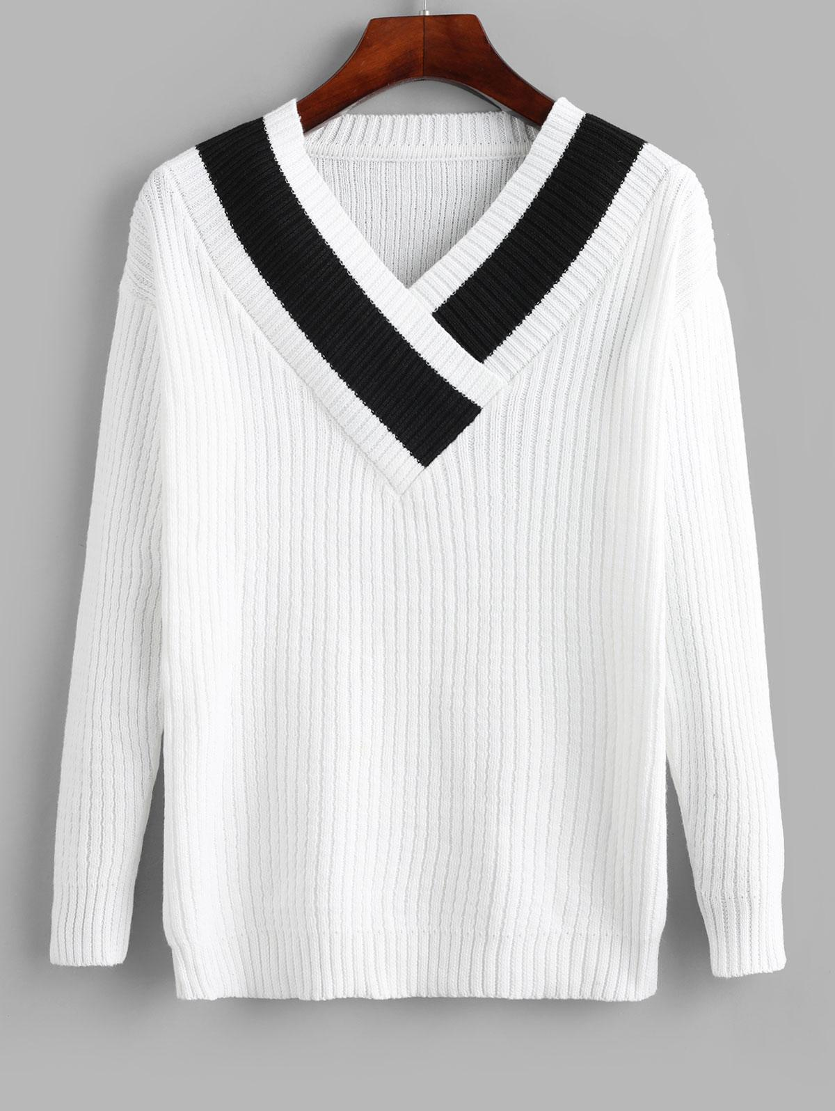 Pullover V Neck Colorblock Sweater