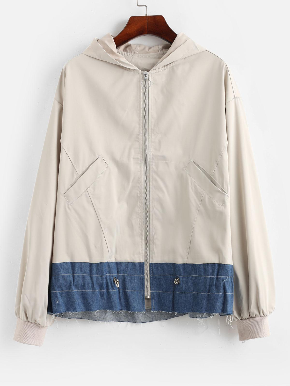 Color Block Zip Up Drawstring Hooded Jacket
