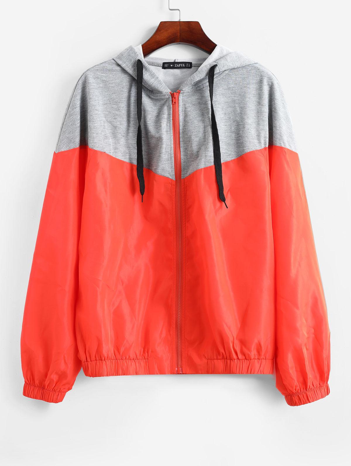 ZAFUL Mixed Media Two Tone Hooded Zip Windbreaker Jacket, Orange