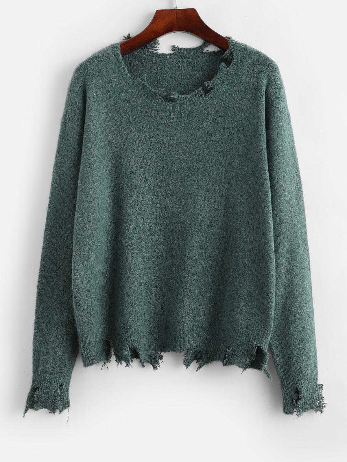 ZAFUL Frayed Drop Shoulder Jumper Sweater