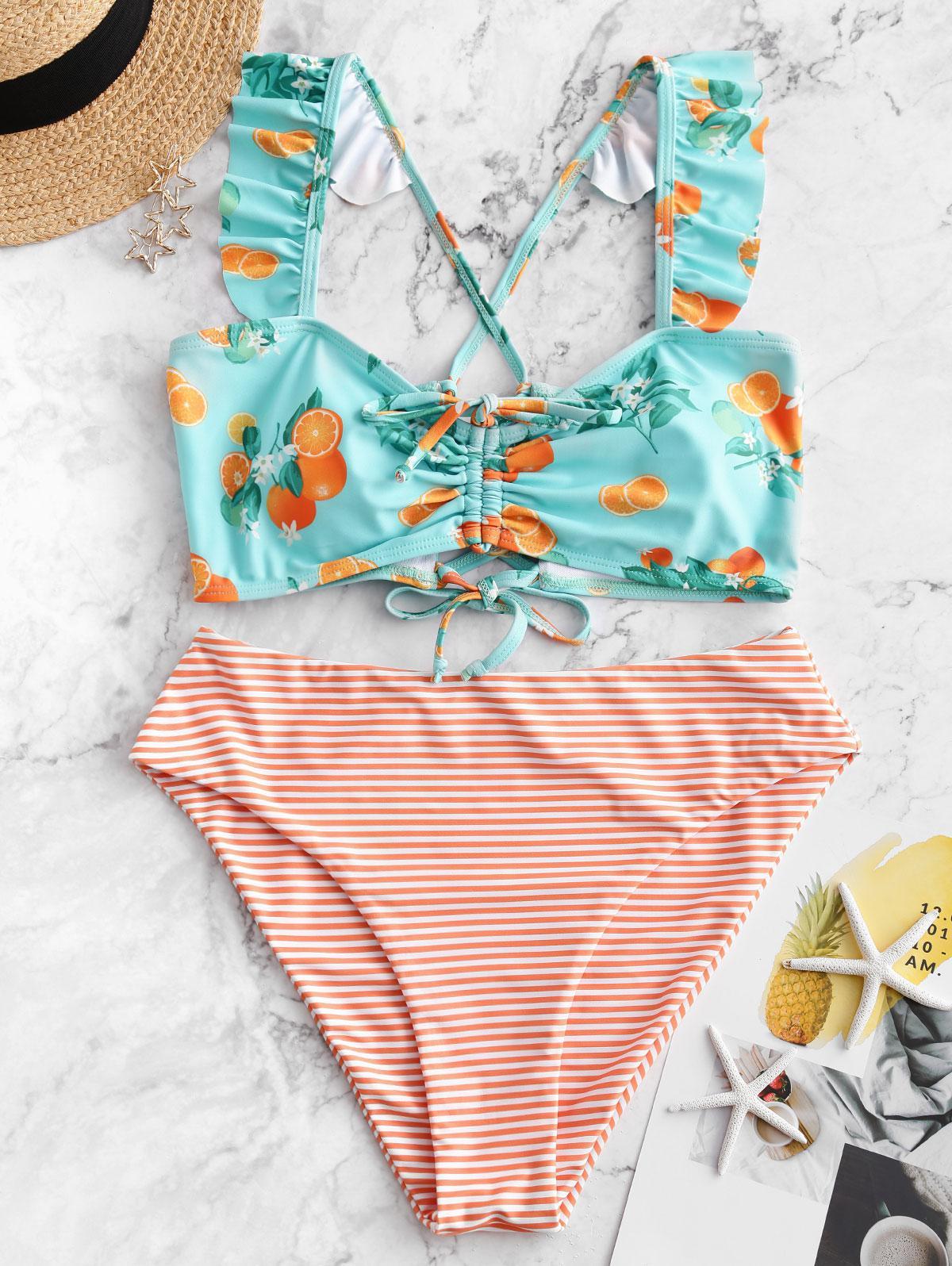 ZAFUL Cinched Orange Print Striped Ruffle Tankini Swimsuit фото