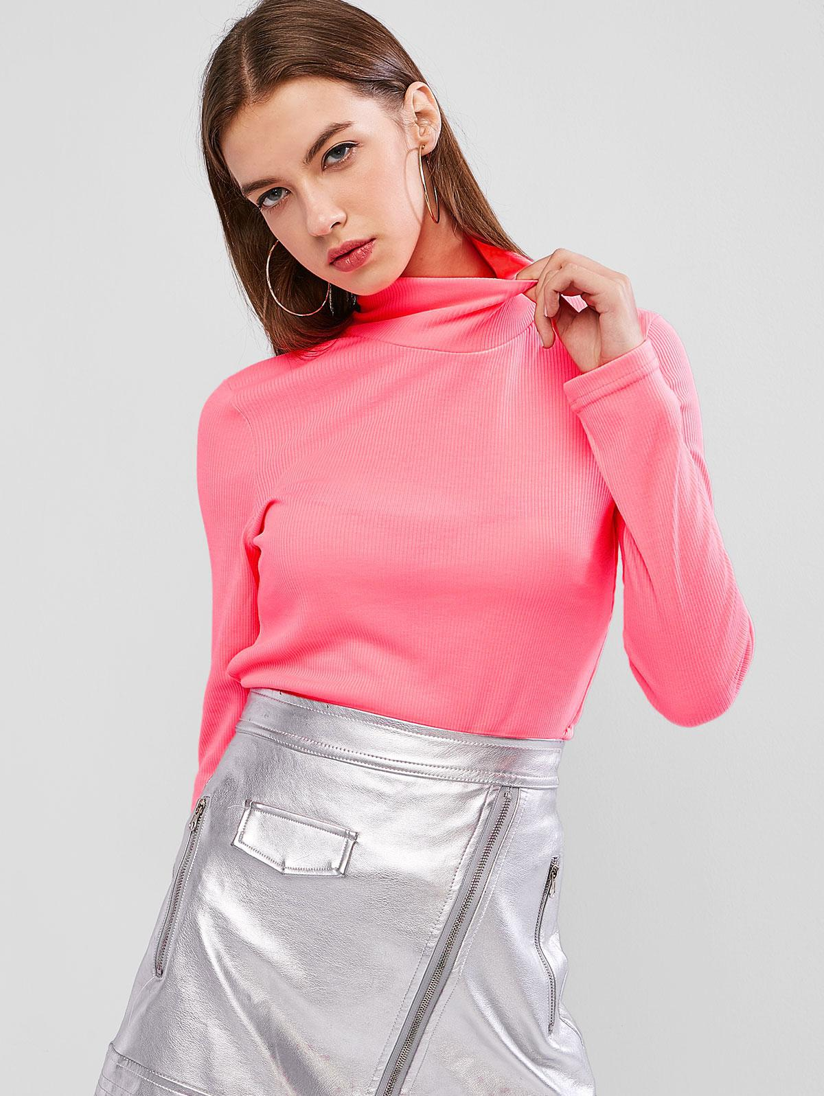 Neon High Neck Ribbed Slim Knitwear