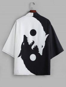 طافوا القمر الذئب طباعة فتح جبهة كيمونو صوفية - أسود M