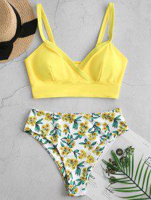 ZAFUL الزهور الرداء الكهنوتي السامي قص Tankini ملابس السباحة - الأصفر M