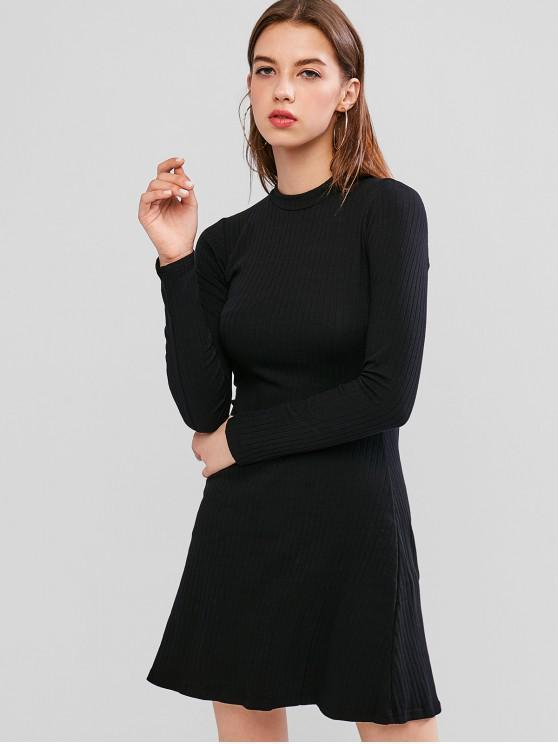 fancy Solid Color Ribbed Mini A Line Dress - BLACK L