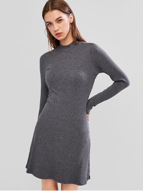 Mini vestido acanalado acanalado de color liso - Gris M