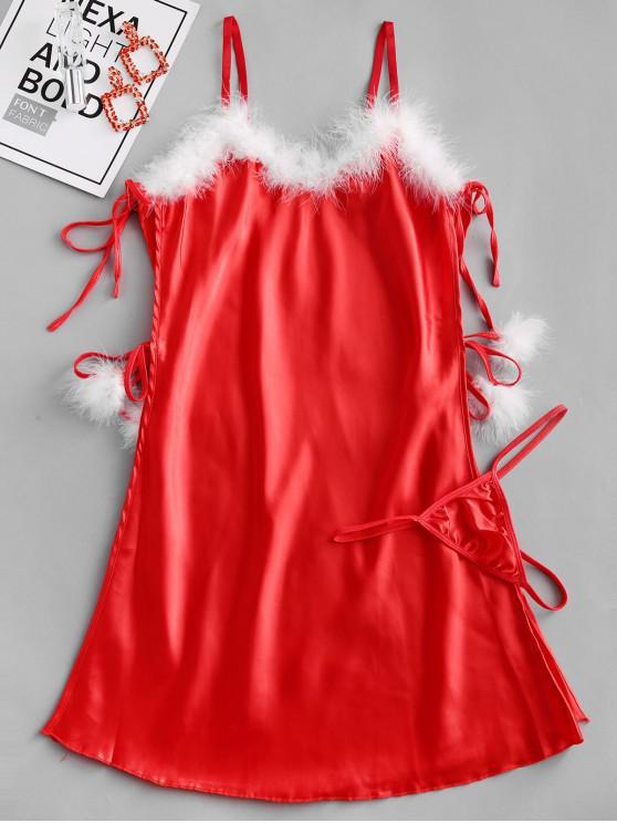 Weihnachten Cosplay Kunstpelz Seitenschlitz Babydoll - Rot 2XL