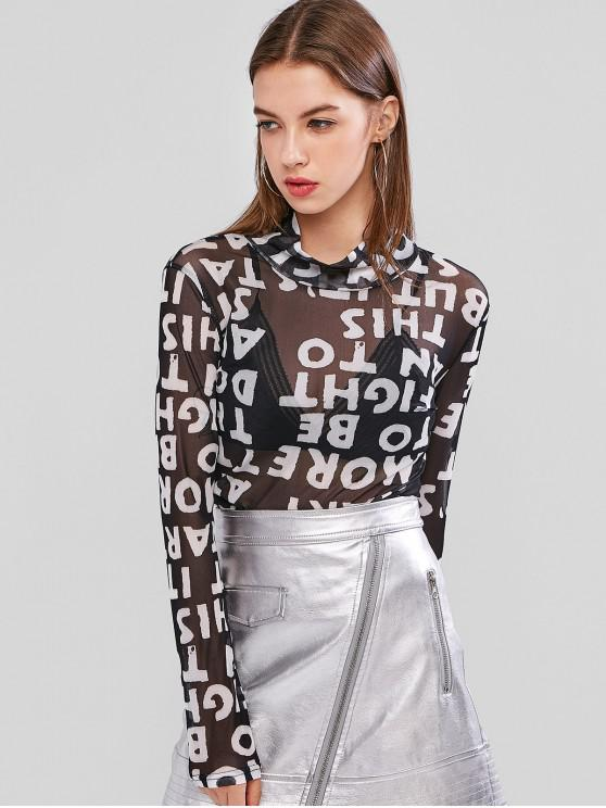 trendy Mesh Letter Graphic High Neck Sheer Tee - BLACK ONE SIZE