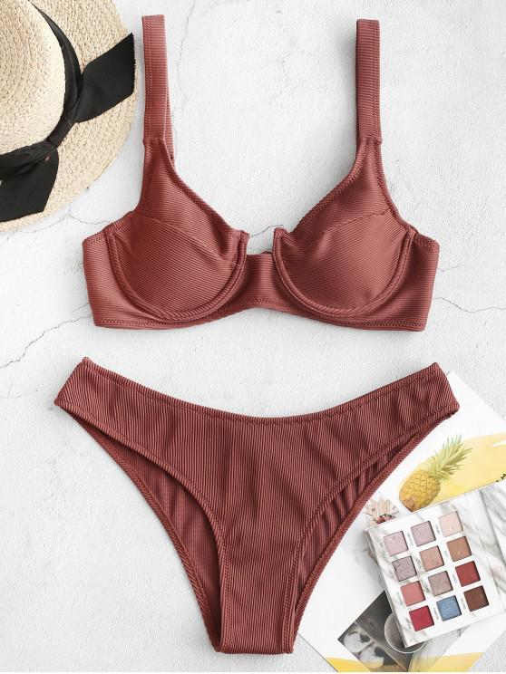 womens ZAFUL Underwire Ribbed High Leg Bikini Swimsuit - CHESTNUT M