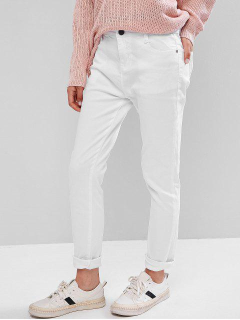 Pantalones pitillo de tiro medio - Blanco M Mobile