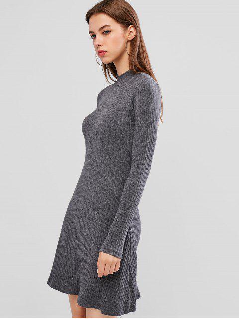 Mini Robe Ligne A Côtelée en Couleur Unie - Gris L Mobile